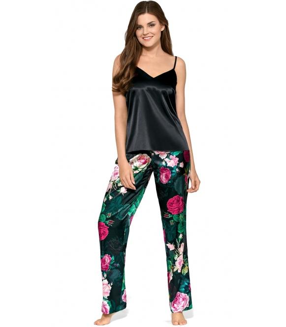 satynowa bielizna damska kwiecisty wzór spodni koszulka czarna na ramiączkach piżama damska dwuczęściowa babella alicja