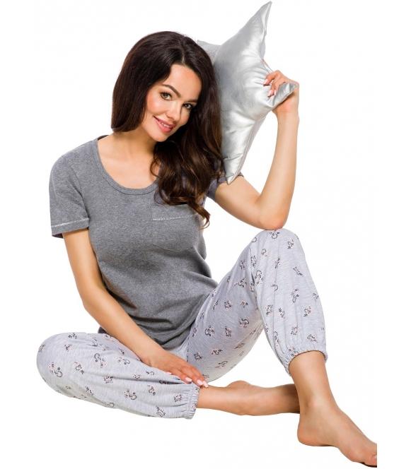 taro bawełniana bielizna nocna piżama damska w odcieniach szarości góra krótki rękaw z kieszonką spodnie długie z nadrukiem