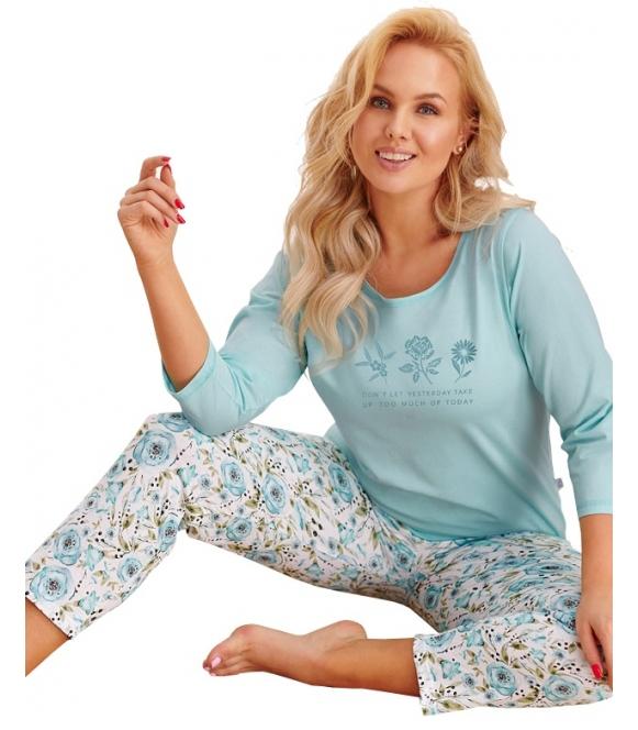 miętowo biała piżama plus size damska 100% bawełniana dwuczęściowa góra z rękawem 3/4 spodnie do połowy łydki taro nina