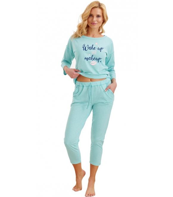 taro alexa miętowa piżama bawełniana damska składająca się z dwóch części bluza z rękawem 3/4 i napisem spodnie do połowy łydki