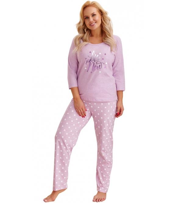 piżamka damska w rozmiarach plus size bawełniana kolor fioletowy melanż dwuczęściowa bluza rękawy 3/4 spodnie długie w serduszka