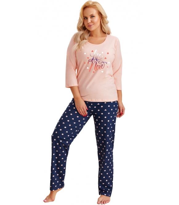 taro morelowo granatowa piżama plus size damska duże rozmiary bawełniana bluzka rękawy 3/4 spodnie długie granatowe w serduszka