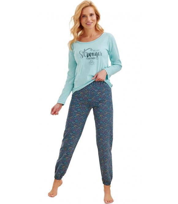 piżama z nadrukiem kolorowych słoni na długich spodniach bawełniana damska góra miętowa z błyszczącym napisem taro jula 2230