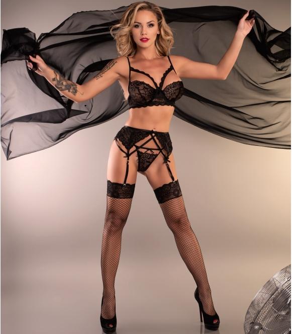 biustonosz pas do pończoch i stringi seksowny czarny komplet bielizny erotycznej livco corsetti