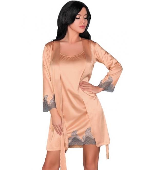 szlafrok i koszulka nocna damska komplet bielizny nocnej 2 częściowy livco corsetti sancha z koronkowymi zdobieniami