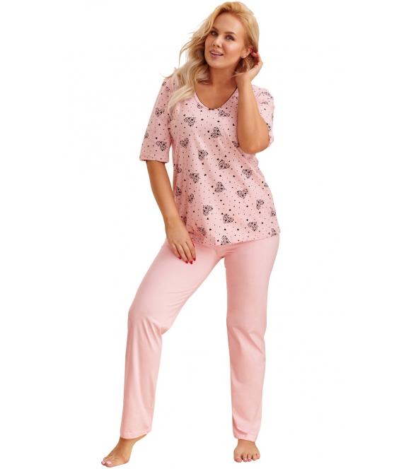 pudrowo różowa piżama plus size damska bawełniana z motywem serc na koszulce rękawy do łokcia spodnie długie gładkie taro lidia