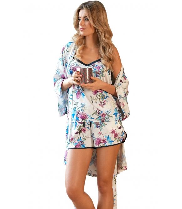 satynowa perłowa piżama damska krótka w kwiatowy wzór nipplex marina