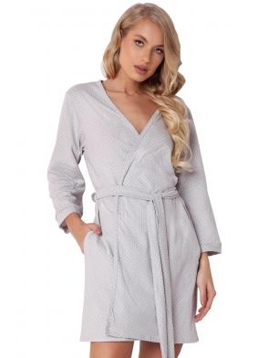 bawełniany jasno szary w kropki szlafrok damski z długim rękawem krótki wiązany w pasie aruelle tasha