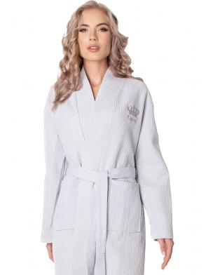 aruelle luksusowy szlafrok damski bawełniany model waffle wiązany w talii długi rękaw wyszywana korona na piersi krótki