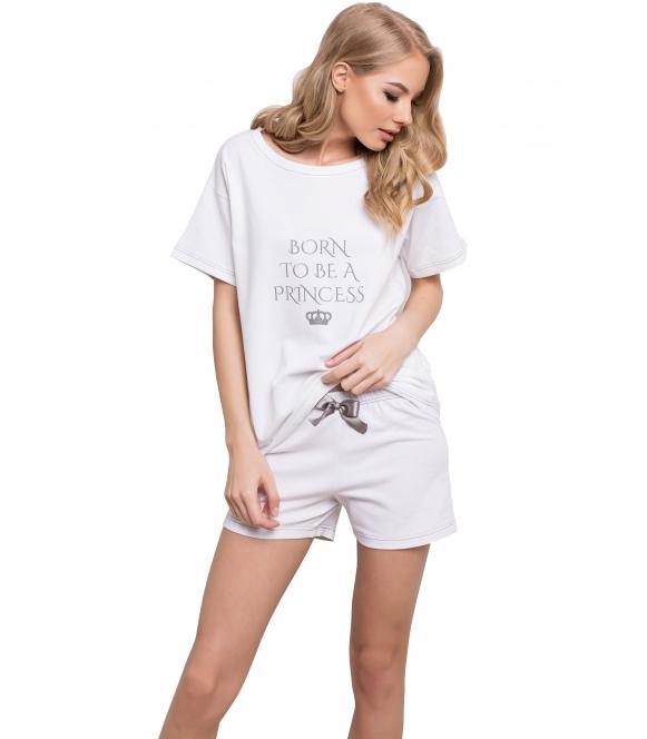 piżama damska princess bawełniana biała firmy aruelle koszulka krótki rękaw z napisem spodenki krótkie z satynową kokardką