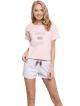 różowo biała piżama w kropeczki damska krótki rękaw spodenki krótkie z satynową kokardką w pasie aruelle