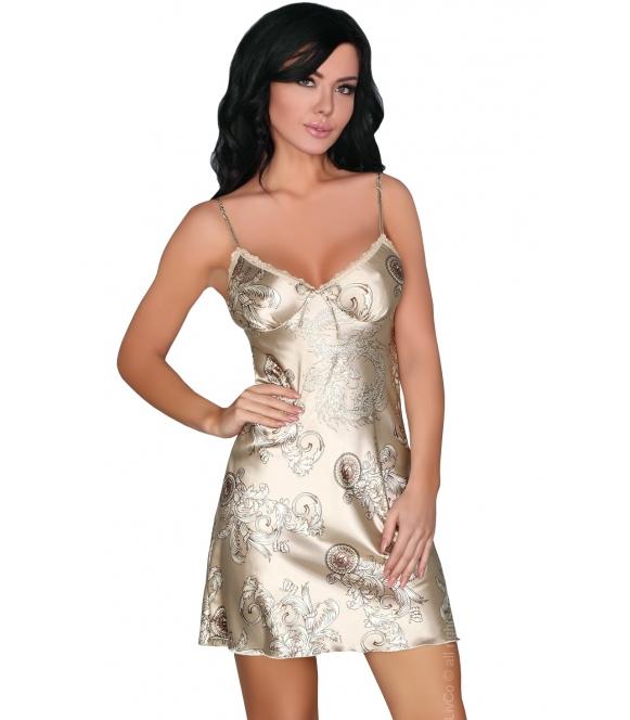 jasna satynowa koszulka nocna damska bielizna nocna z złotym i brązowym motywem elegancka na ramiączkach i seksowna