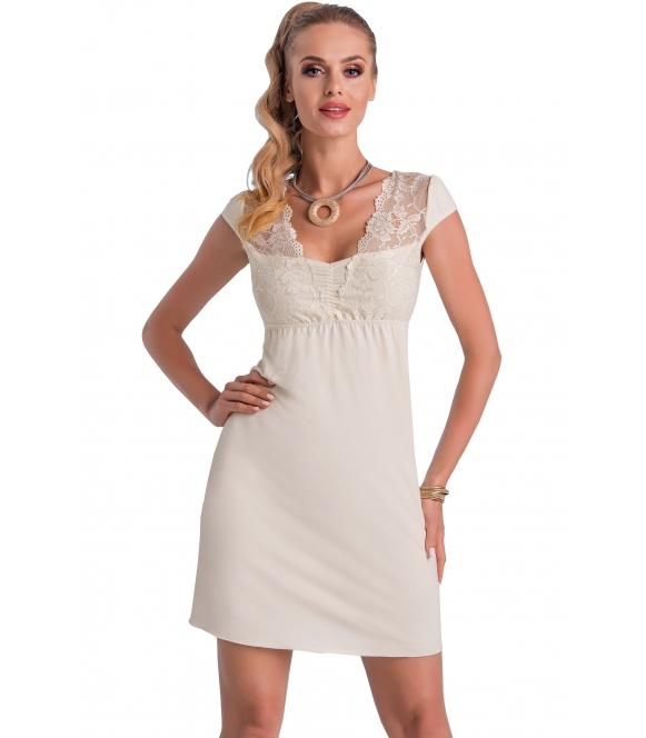 donna taylor wiskozowa koszulka nocna z koronkowym biustonoszem i dekoltem krótki rękaw bielizna w kolorze ecru