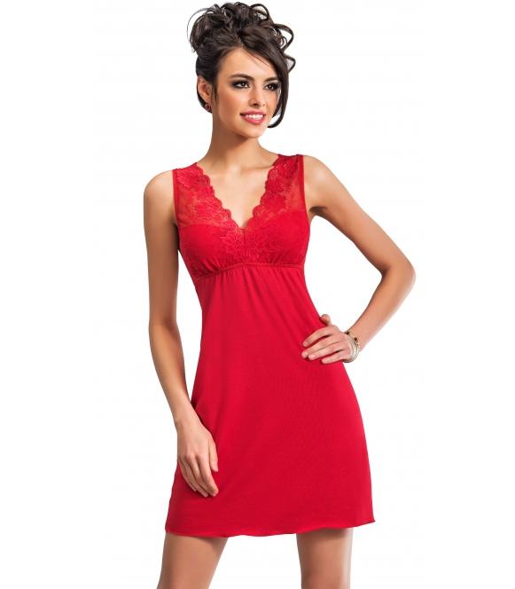 zmysłowa czerwona koszulka nocna pełna seksapilu donna kristina z pięknym koronkowym biustonoszem i plecami