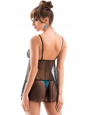 irall erotyczny komplet bielizny damskiej seksowny koszulka z turkusowej tkaniny i czarnej przeźroczystej siateczki i stringi