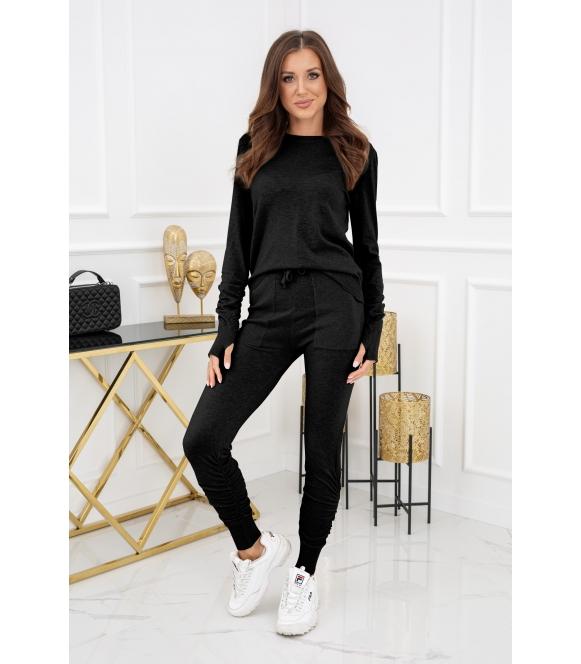 czarny dzianinowy komplet odzieży damskiej bluzka i długie spodnie z kieszeniami vittoria ventini merlose