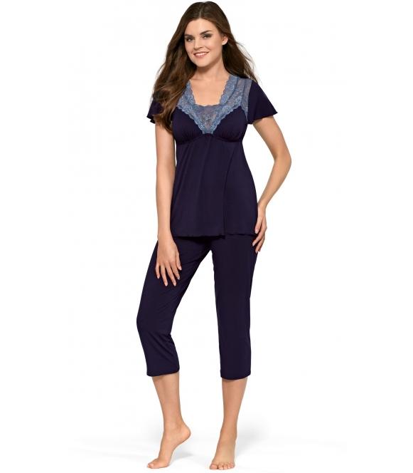 babella ella wiskozowa elegancka piżama damska w kolorze granatowym krótki rękaw spodnie długości 7/8
