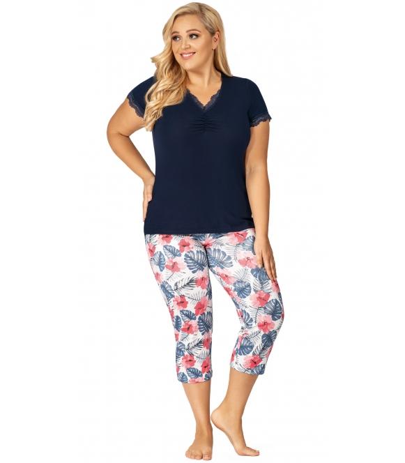plus size dwuczęściowa wiskozowa piżama damska koszulka granatowa z krótkim rękawem wzorzyste spodnie 3/4 donna mila