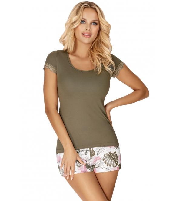 piżama damska kolor khaki dwuczęściowa z krótkim rękawem i wzorzystymi krótkimi spodenkami donna mila