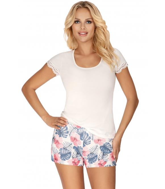 krótka piżama damska wiskozowa donna mila koszulka krótki rękaw kolor ecru spodenki krótkie kolorowe