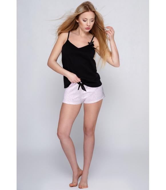 sensis marinela bawełniana piżama damska dwuczęściowa na ramiączkach i z krótkimi spodenkami