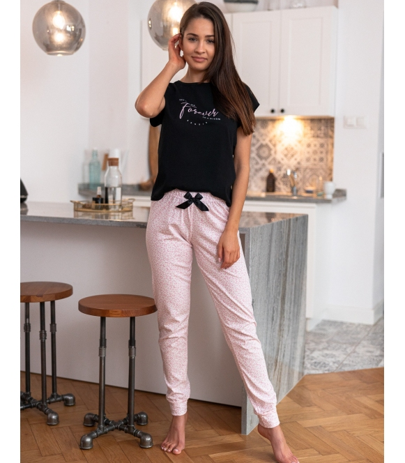 forever śliczna piżama damska bawełniana z krótkim rękawem i długimi spodniami sensis