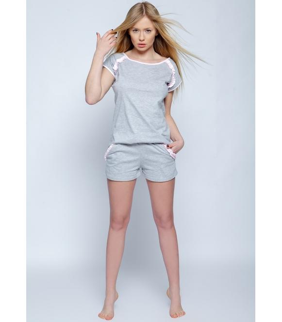 sensis sisi szara piżama damska bawełniana krótka dwuczęściowa koszulka z krótkim rękawem spodenki krótkie