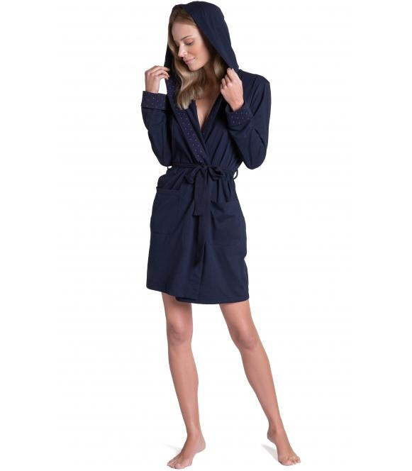 bawełniany szlafrok damski z kapturem wiązany w talii granatowy henderson ladies tyla