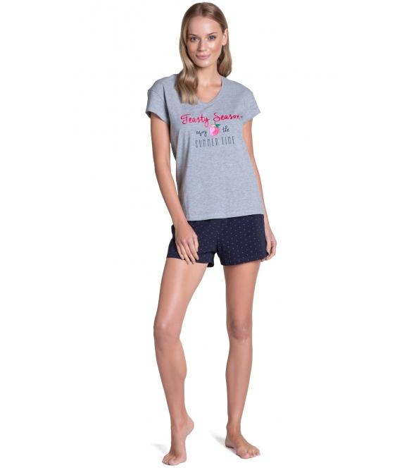 henderson szaro granatowa piżama damska dwuczęściowa z krótkim rękawem i krótkimi spodenkami na gumce tyla