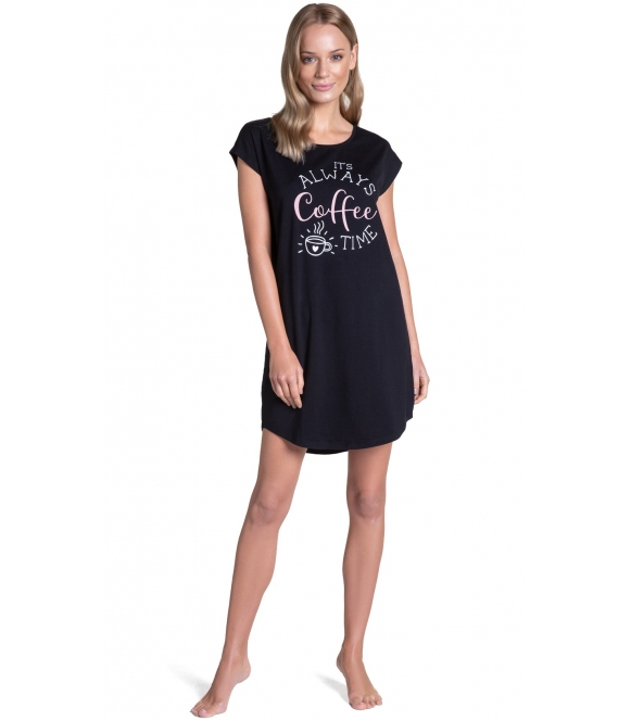 czarna koszula nocna damska z nadrukiem na piersiach bawełniana z krótkim rękawem henderson ladies truth