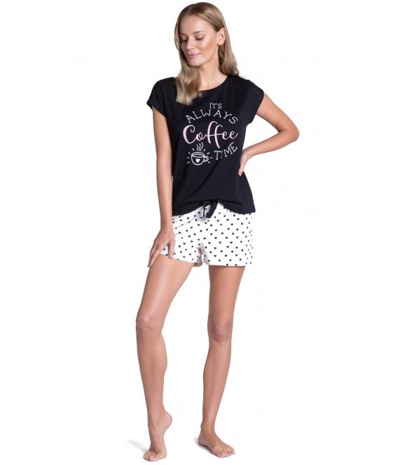 wygodna piżama damska bawełniana czarno ecru dwuczęściowa z krótkim rękawem henderson