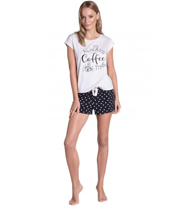 henderson truth piżama damska motyw serduszek na krótkich spodenkach koszulka z krótkim rękawem i nadrukiem