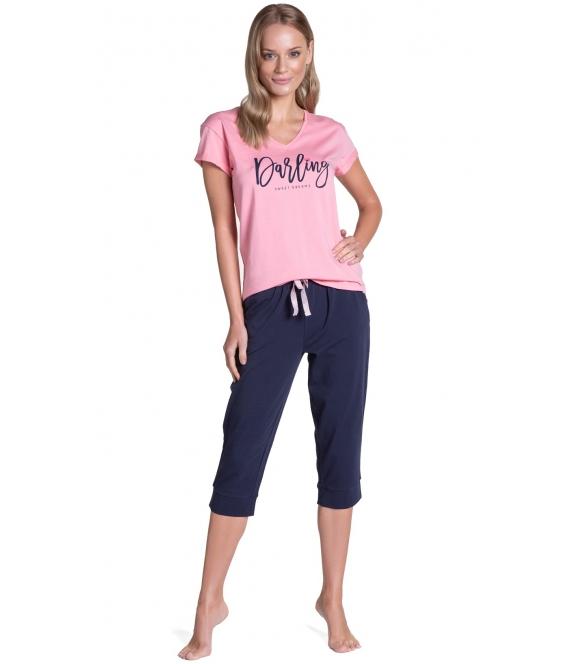 różowo granatowa piżama damska bawełniana henderson tulip long krótki rękaw spodnie 3/4