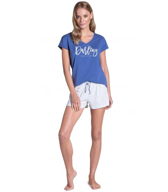 henderson tulip piżama damska 38900-55X bawełniana niebiesko szara koszulka krótki rękaw i krótkie spodenki
