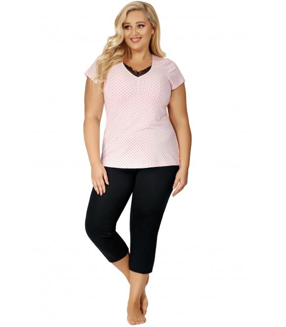 czarno różowa w kropki piżama damska dwuczęściowa plus size donna alice