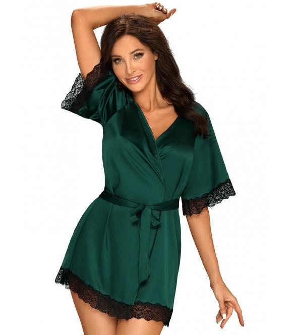 burgundowo zielony szlafrok satynowy damski z czarnymi koronkowymi wstawkami obsessive sensuelia