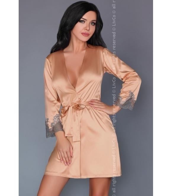 purdie satynowy szlafrok damski z koronkowymi mankietami wiązany w talii firma livco corsetti