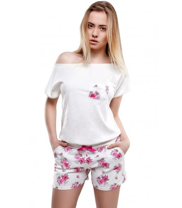 piżama damska kombinezon z motywem róż sensis rose krótkie spodenki wiązane w pasie