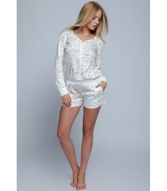 kombinezon piżama damska 100% bawełna live firmy sensis bluza długi rękaw spodenki krótkie