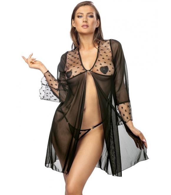 seksowny peniuar prześwitujący szlafrok damski czarny i stringi damskie komplet bielizny erotycznej anais roisin