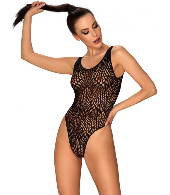 b127 prześwitujące seksowne body damskie czarne firmy obsessive wycięcie na plecach z trzema paskami