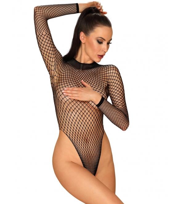 b125 pikantne siateczkowe body damskie seksowne czarne prześwitujące i odsłaniające kobiece ciało firmy obsessive