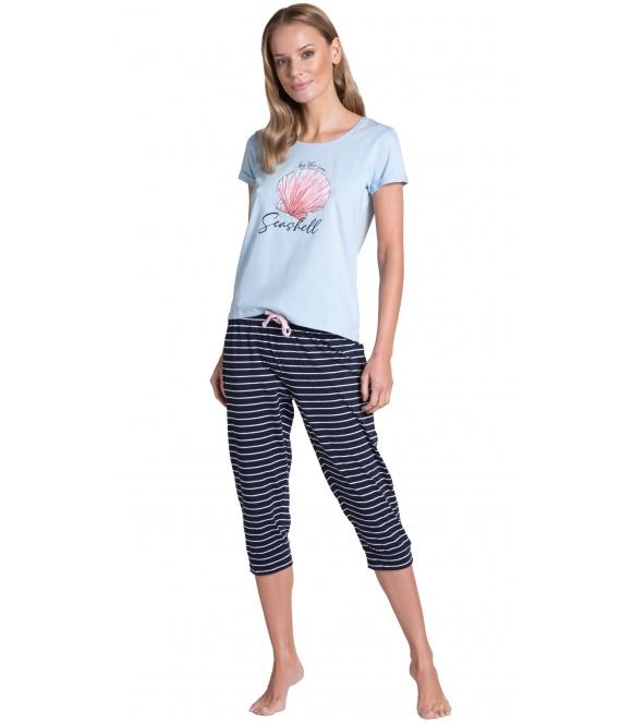 tickle long błękitno granatowa piżama damska bawełniana firmy henderson krótki rękaw spodnie 7/8