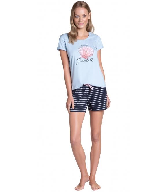 henderson tickle krótka bawełniana piżama damska błękitno granatowa spodenki w paseczki firma henderson