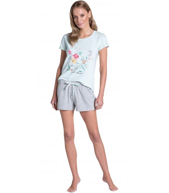 bawełniana piżama damska z kwiatowym motywem w centralnej części koszulki krótki rękaw i krótkie szorty wiązane henderson