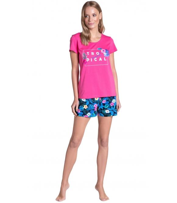 piżama damska z egzotycznym motywem henderson ladies tropicana krótki rękaw spodenki krótkie z nadrukiem kwiatów