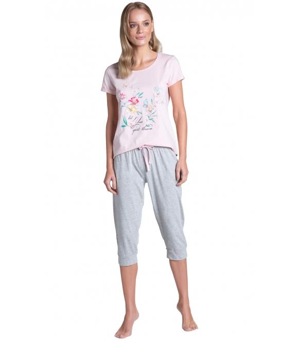 bielizna damska piżama bawełna z kwiatowym nadrukiem na koszulce krótki rękaw spodnie szare typu rybaczki henderson