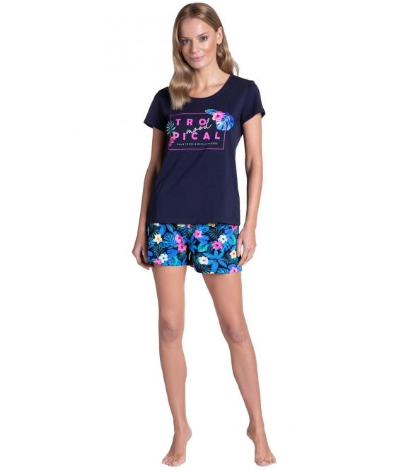 piżama damska z tropikalnym motywem kwiatów i napisem tropicana bawełniana krótki rękaw i krótkie spodenki henderson