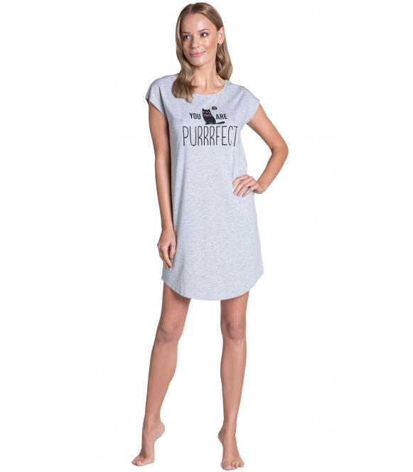 szara koszulka nocna damska timber bawełniana firmy henderson ladies krótki rękaw nadruk na piersiach