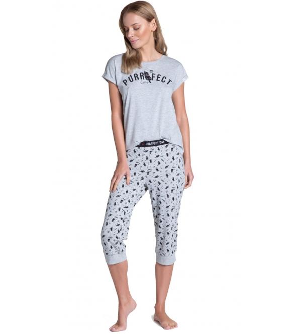 homewear piżama damska bawełniana timber long 38903-09x firmy henderson ladies szara z krótkim rękawem spodnie 3/4